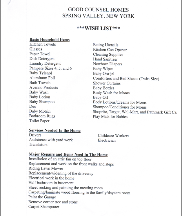 Good counsel s special needs rockland right to life for Home wish list