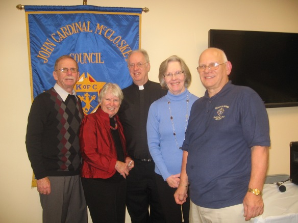 Hugh Delargy, District Deputy, Mary Loftus, Rockland RTL treasurer, Msgr. Edward Weber, McCloskey Council chaplain, Liz O'Brien, Rockland RTL chairman, and Arthur Saladino, Grand Knight