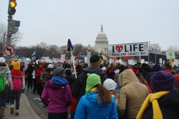 A Rockland Right to Life banner rises above the crowd, surging along Constitution Avenue toward the Capitol. Stories and photos of the March for Life will be appearing on this site over the weekend. If you were there, and would like to have your photos or comments posted, please send them to RocklandRTL@optonline.net. The photo above is by John Ferrao.