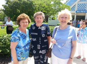 After the Mass at the Marian Shrine: Cathy Skae, Jeanmarie Grahn, and Mary Moore.