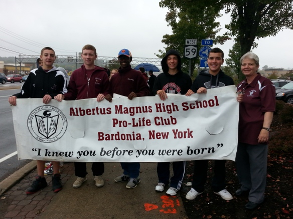 Albertus Magnus High School students and the Pro-life Club moderator, Sr. Nancy Richter, at the October 2013 Life Chain in Rockland.