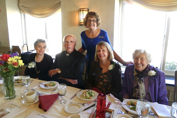 Lillian Dobson, Msgr. James Cox, former Vicar of Rockland County, Karin Lancellotti, Executive Director of Birthright of Rockland, Eileen Francis, Secretary of Birthright, and Cathy Baker at the 40th anniversary gala luncheon.