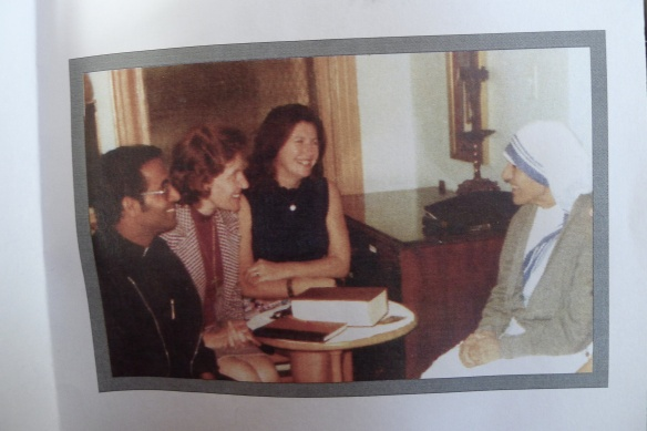 Fr. Joseph, Cathy Baker, and Jeanmarie Grahn meet Mother Theresa in 1975.