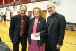 Chris Bell, Executive Director of Good Counsel Homes, with honoree Margaret Hamilton, and Rev. Thomas Madden, Pastor of St. Peter's Church in Haverstraw