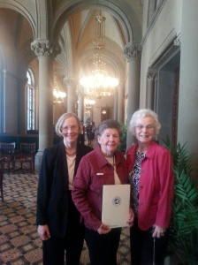 Liz O'Brien, Jeanmarie Grahn, and Judy Murray from Rockland Right to Life outside the Senate Chamber in Albany at Lobby for Life Day.