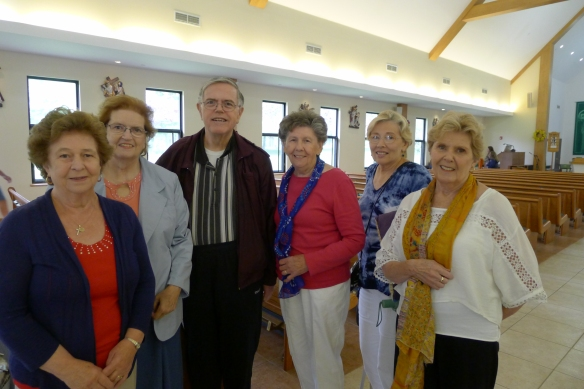 Worshippers at the Mass for Life and America: (from left) Cathy Skae, Margaret Hamilton, Deacon Gene Hamilton, Jeanmarie Grahn, Ginny Gulezian, and Terry Anselmi