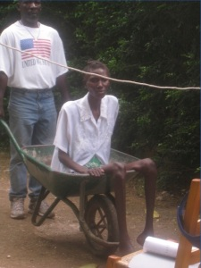 This woman was too sick to walk, so she was brought to the clinic in a wheelbarrow.  (We call it the ambulance!)